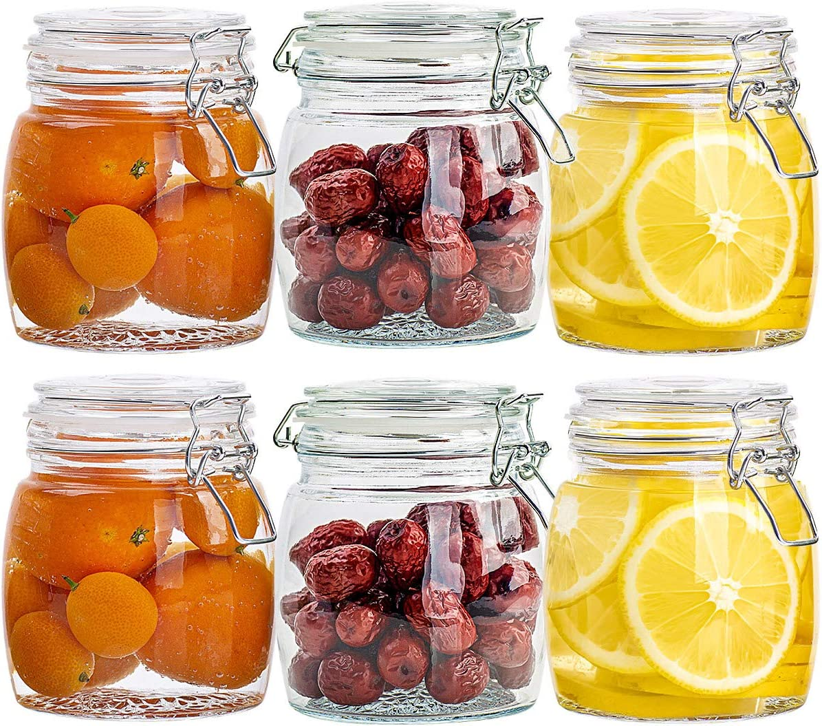 25Oz Glass Jars 6 Pack, Glass Canisters With Leak Proof Hinged Lids Airtight, Regular Mouth Food Storage Containers For Cereal, Pasta, Sugar, Beans