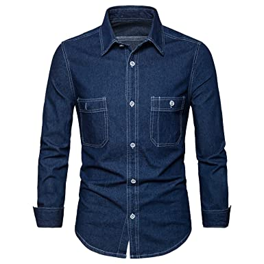 6a51039759 AOMO LOVE Men s Long Sleeve Denim Solid Shirt Cotton Casual Double-Pocket  Shirt Blue Work