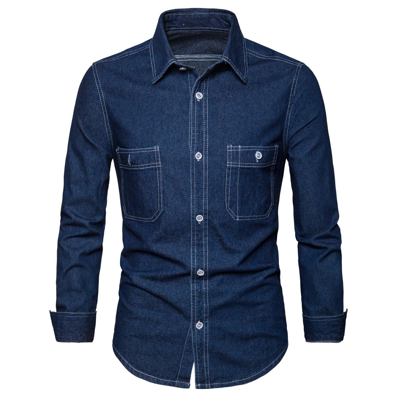 AOMO LOVE Men's Long Sleeve Denim Solid Shirt Cotton Casual Double-Pocket Shirt Blue Work Slim Fit Shirt (Blue, Medium)