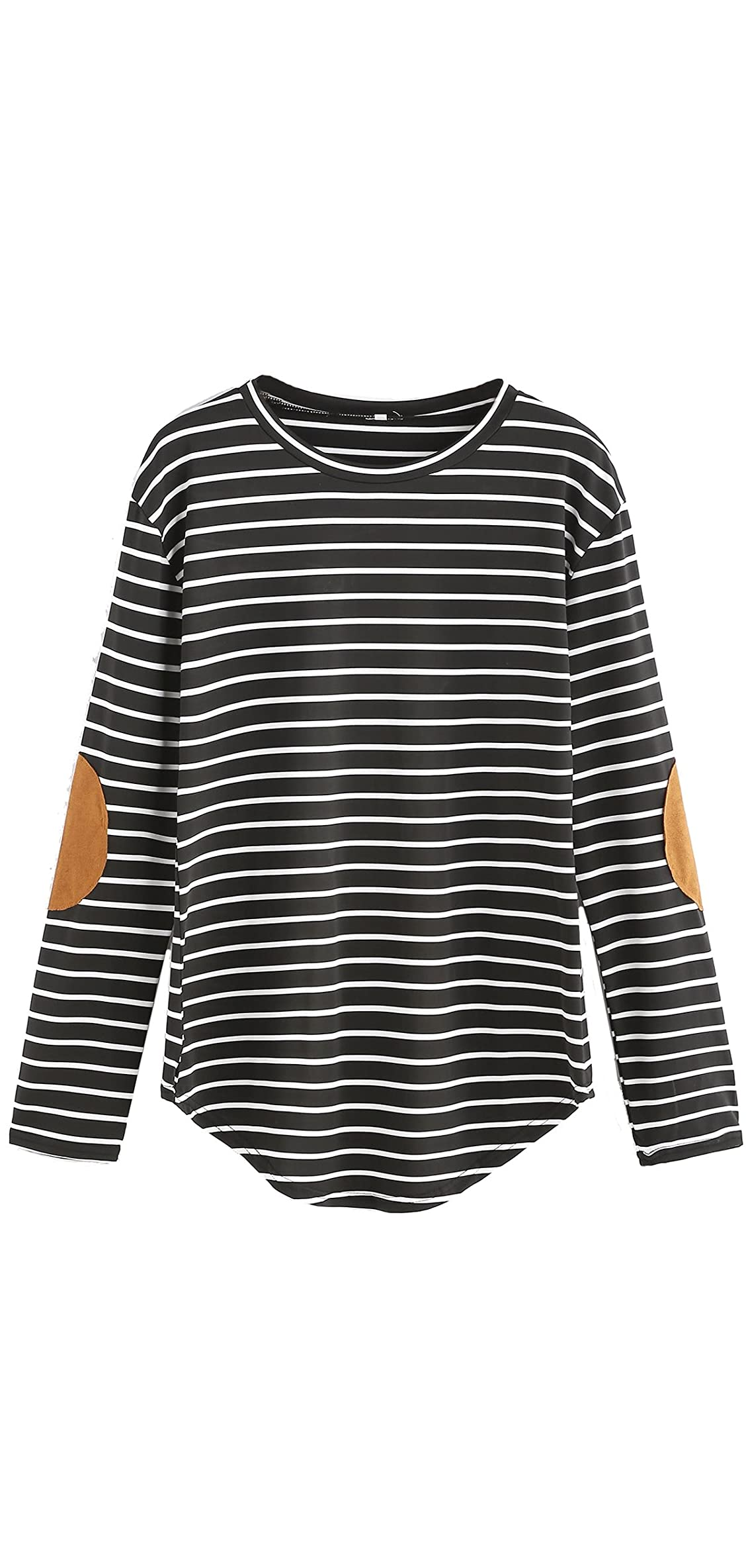 Women's Elbow Patch Striped High Low Top T-shirt
