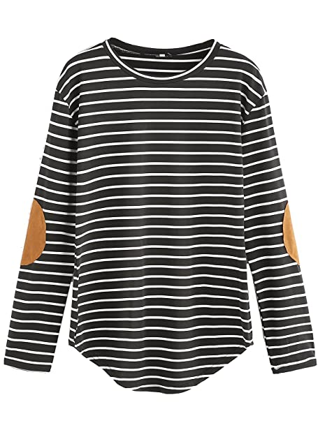 46ec02f380b Milumia Women s Elbow Patch Striped High Low Top T-Shirt X-Small Black and