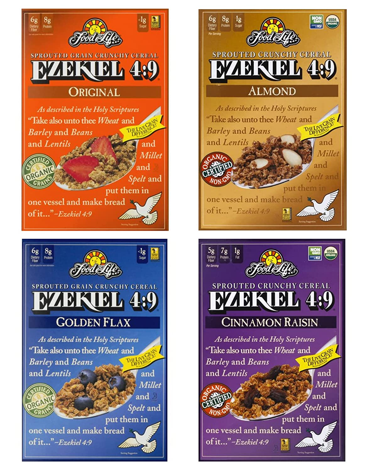 Food For Life Ezekiel 4:9 Organic Sprouted Whole Grain Cereal Variety Pack, Original, Cinnamon Raisin, Golden Flax And Almond, 16oz (4 Pack) In Sanisco Packaging