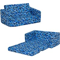 Delta Children Cozee Flip Out Sofa - 2-in-1 Convertible Sofa to Lounger for Kids, Blue Camo
