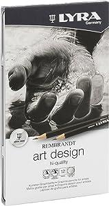 LYRA Rembrandt Art Design Drawing Pencils, Set of 12 Pencils, Assorted Degrees (1111120),Black