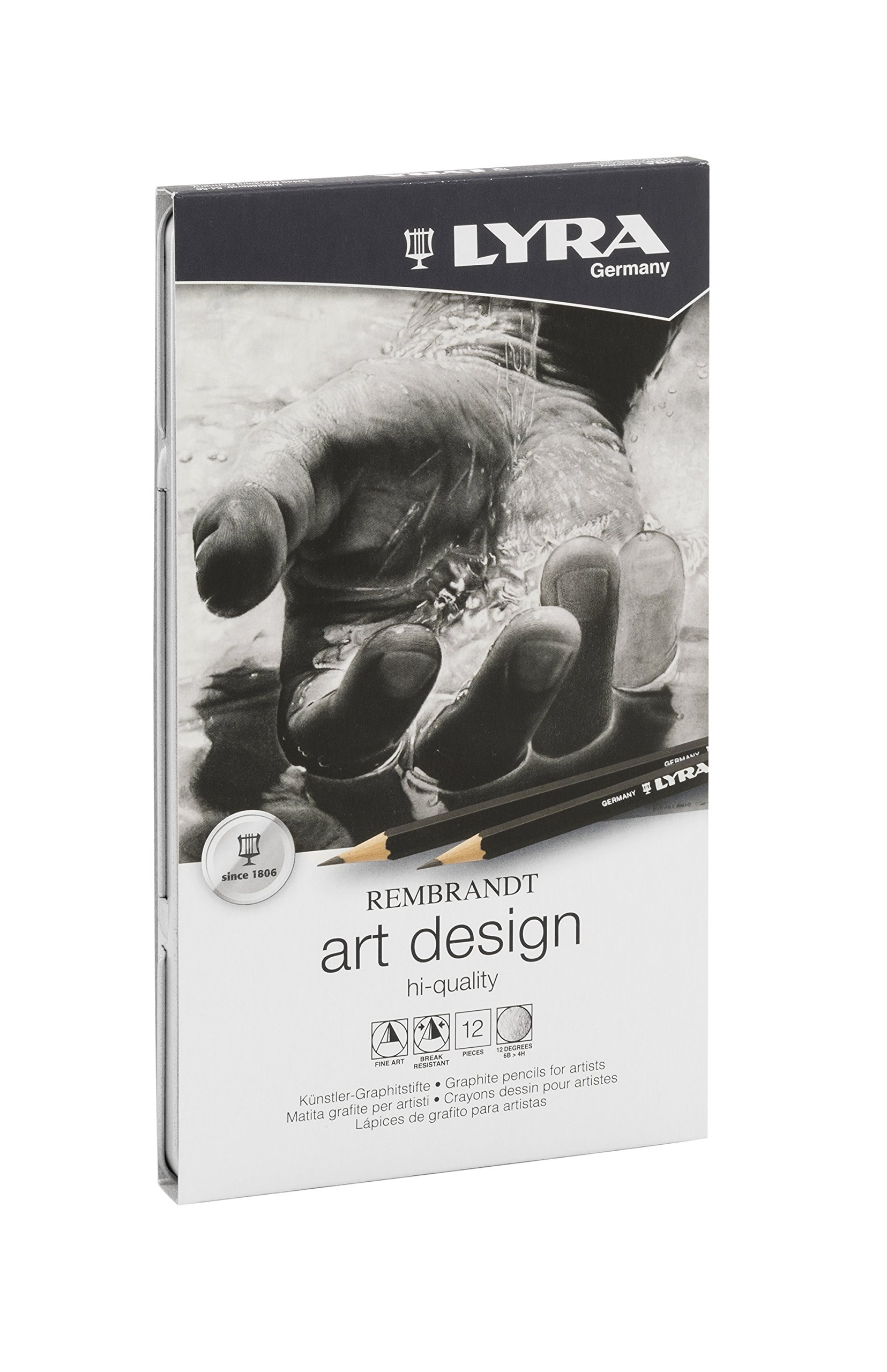 LYRA Rembrandt Art Design Drawing Pencils, Set of 12 Pencils, Assorted Degrees (1111120),Black
