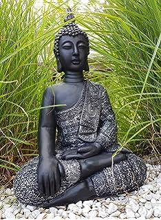 Tiefes Kunsthandwerk Buddha Figur Aus Stein Sitzend In Schiefer