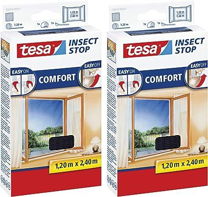 100 cm x 100 cm, 2er Pack//Anthrazit Fliegen Netz ohne Bohren Durchsichtig Insektenschutz mit Klettband selbstklebend tesa Insect Stop COMFORT Fliegengitter Fenster