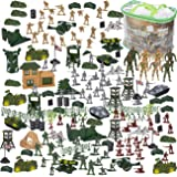 300 Piece Army Action Figure Set, Military Toy Soldier Playset with Tanks, Planes, Flags, Battlefield Tools for Party and Display, Includes 8 - 3.5 Inches Figures with Flexible Joints