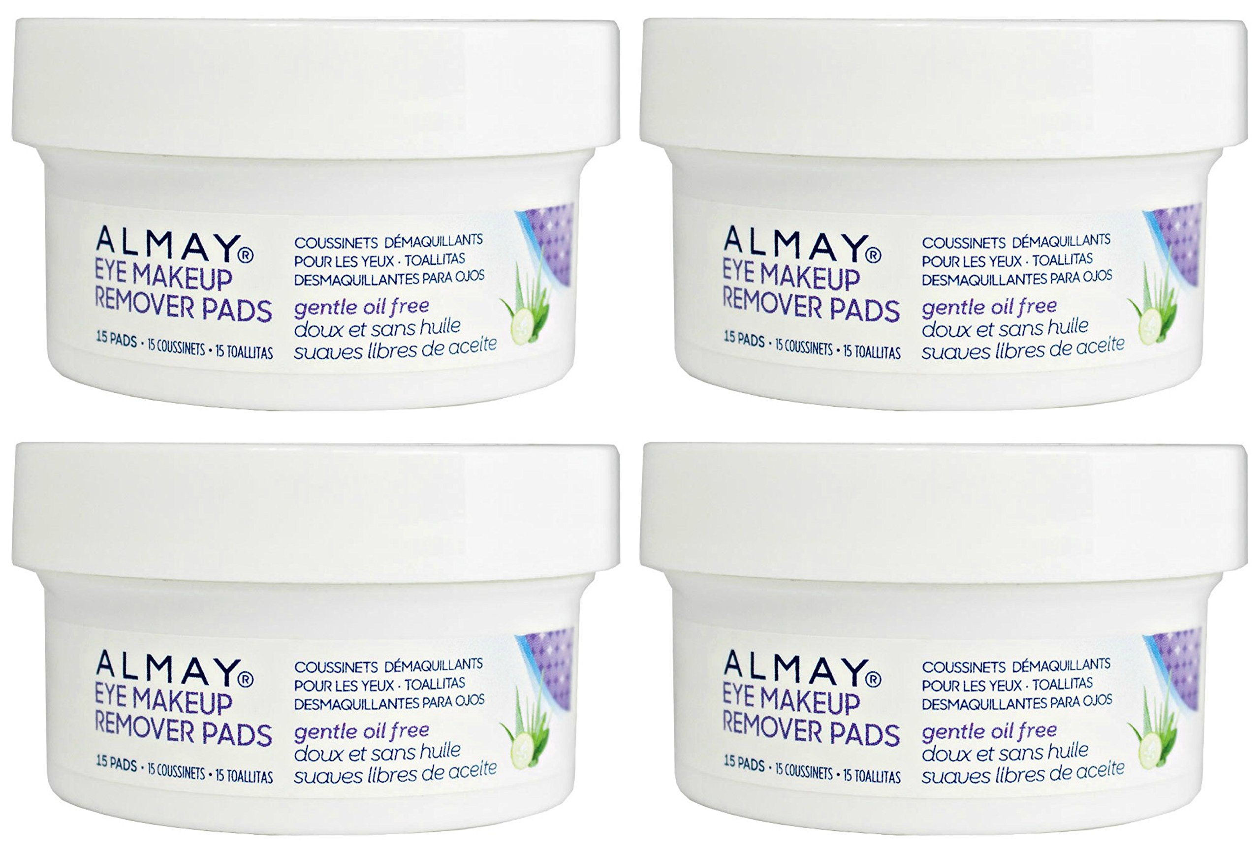 Almay - Oil Free Eye Makeup Remover - Travel Size (15 Pads) Pack of