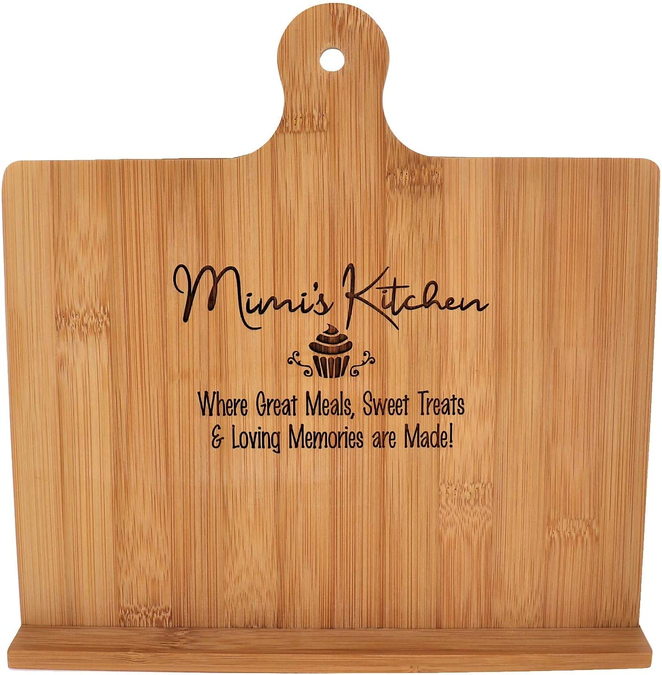 10.25x10.25 Mimi Gift Cookbook Stand Recipe Holder Custom Engraved Bamboo Cutting Board Foldable Chef Easel Metal Hinge Kickstand iPad Tablet Compatible Christmas Birthday Mother Day Kitchen Decor