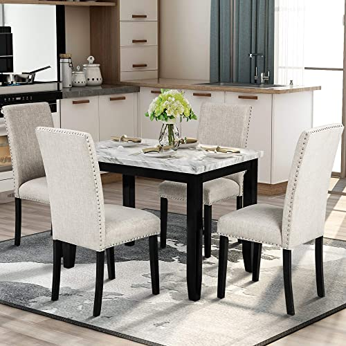 Faux Marble Style 5 Piece Dining Table Set Marble Stickers MDF Top Kitchen Table