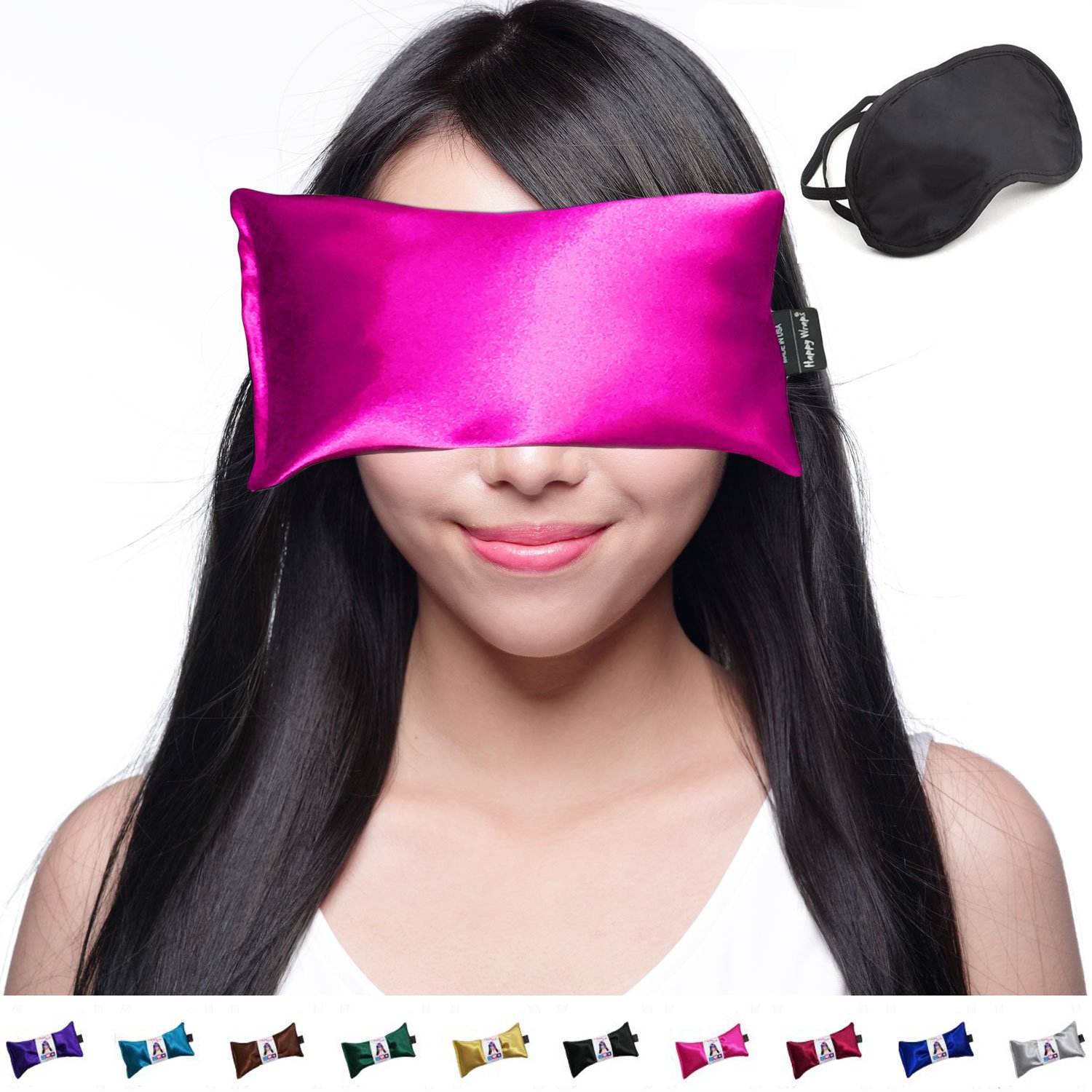 Hot Cold Lavender Eye Pillow and Eye Mask for Sleep, Yoga, Migraine Headaches, Stress Relief. By Happy Wraps - Pink