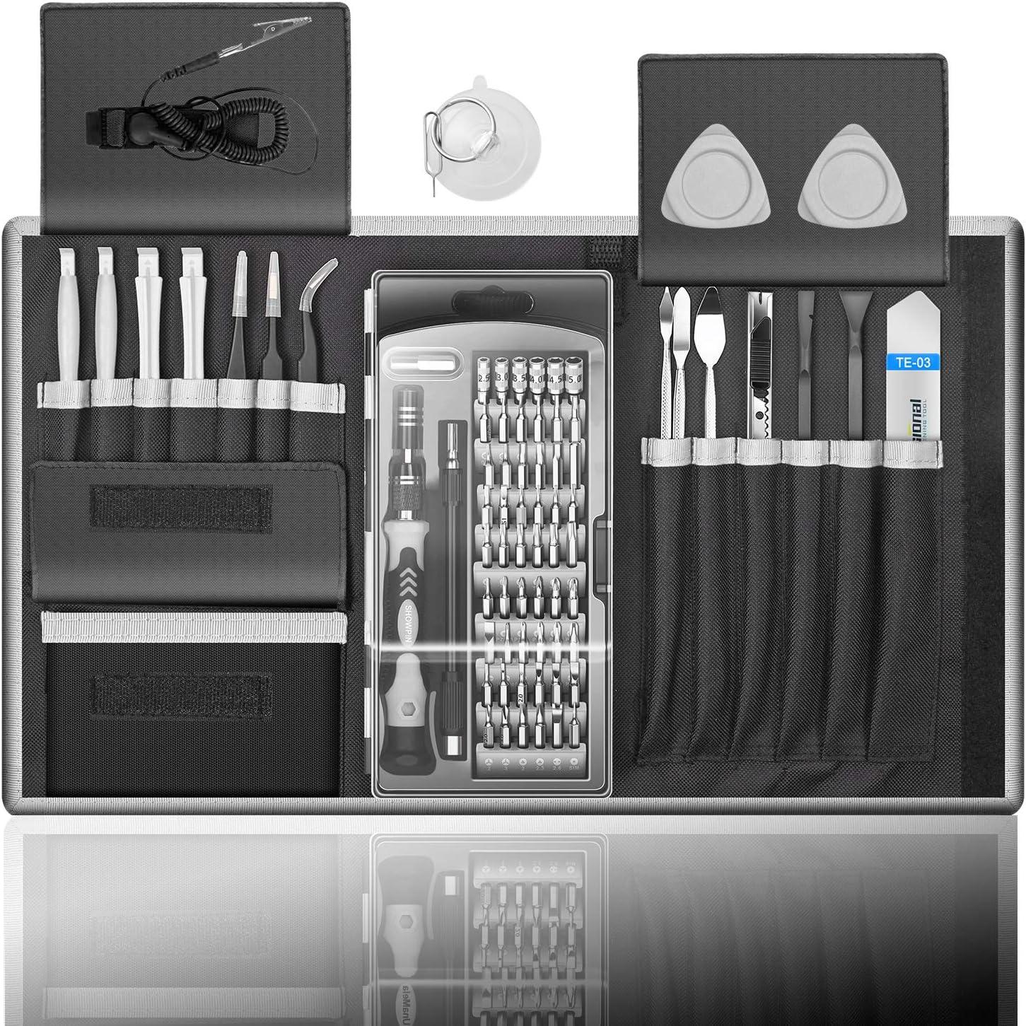 80 in 1 Professional Computer Repair Tool Kit, Precision Laptop Screwdriver Set, with 56 Bit, Anti-Static Wrist and 24 Repair Tools, Suitable for MacBook, PC, Tablet, PS4, Xbox Controller Repair…