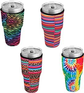 Laelr 4 Pieces Reusable Iced Coffee Cup Insulator Sleeve Cold Hot Beverages Sleeves Neoprene Insulated Sleeves Cup Cover Holder for 30oz - 32oz Tumbler Cup Trenta Starbucks Dunkin Donuts McDonalds