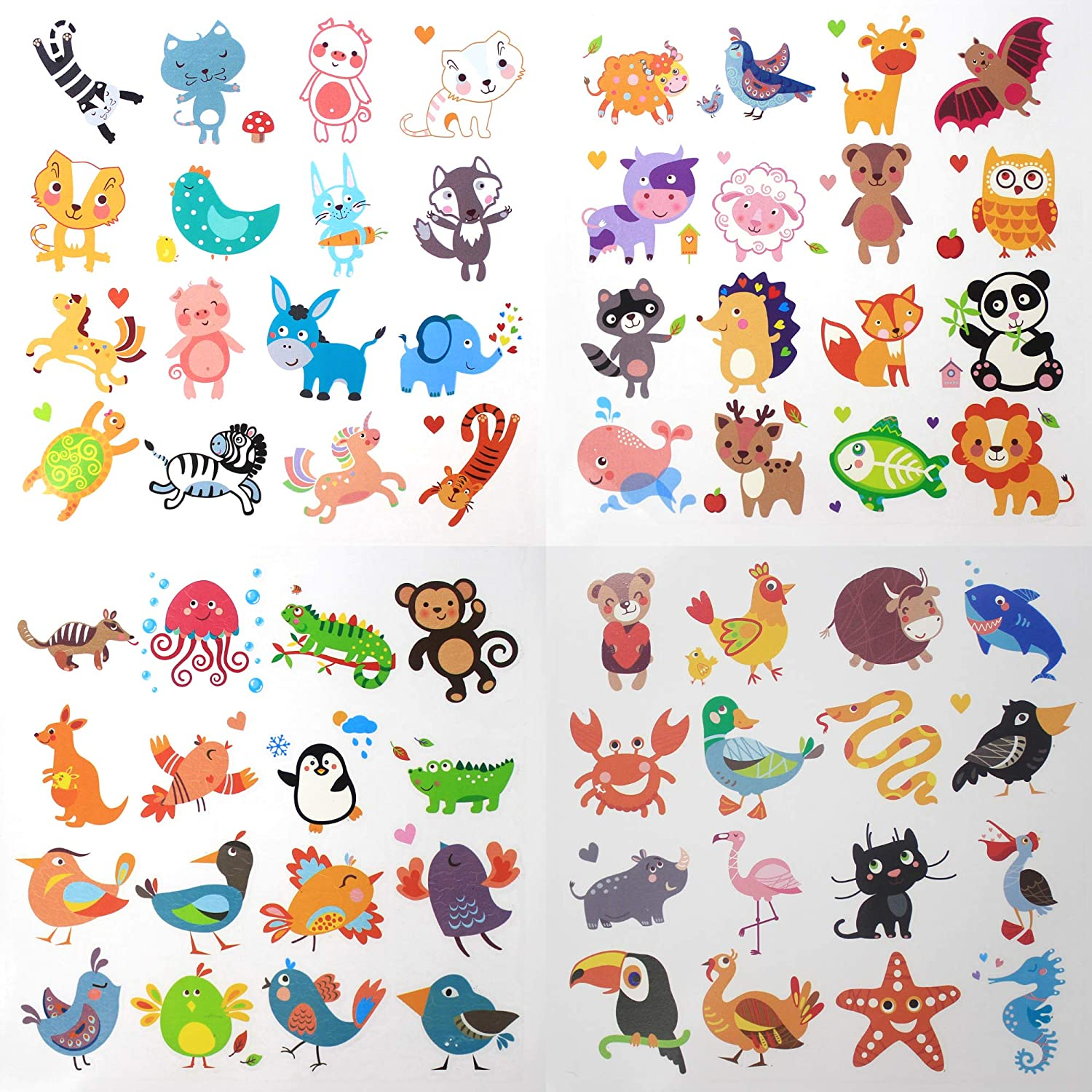 Reward Stickers for Teachers by Baryuefull Cute Animal 3D Puffy Stickers Fun Kids Cartoon Tattoos Temporary Animals