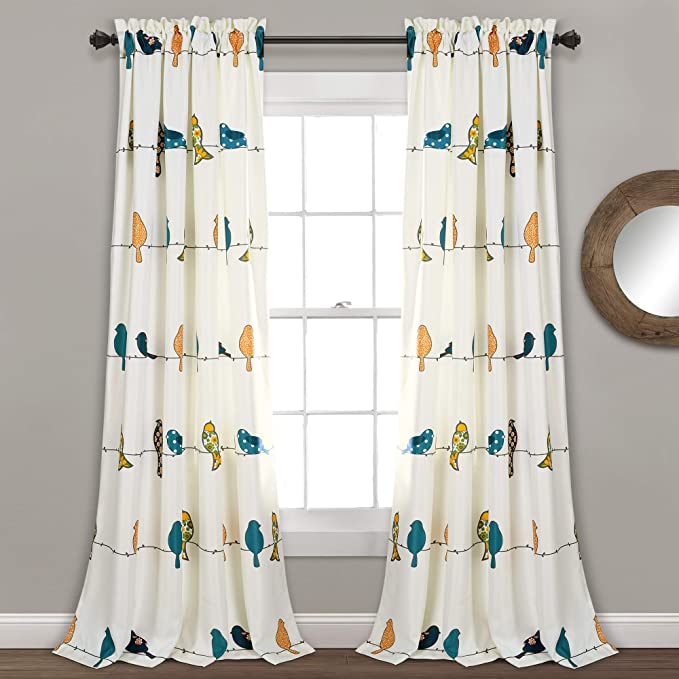 Lush Decor Rowley Birds Curtains Room Darkening Window Panel Set for Living, Dining, Bedroom