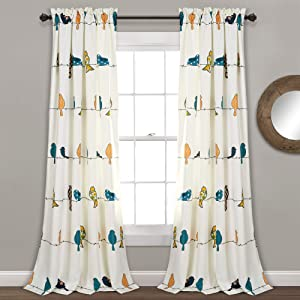"Lush Decor Rowley Birds Curtains Room Darkening Window Panel Set for Living, Dining, Bedroom (Pair) 84"" x 52"" Multicolor"