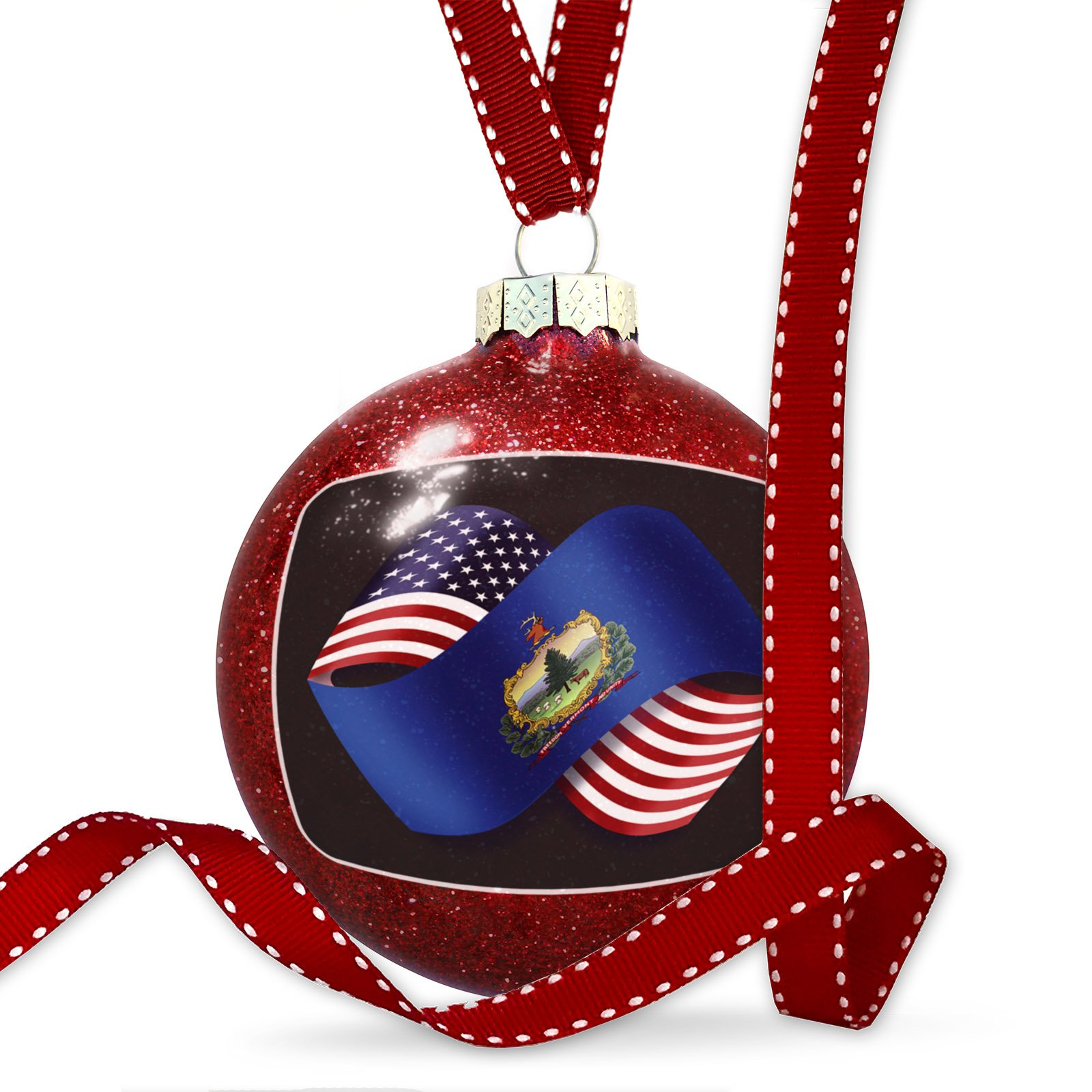 Christmas Decoration Friendship Flags USA and Vermont region America (USA) Ornament