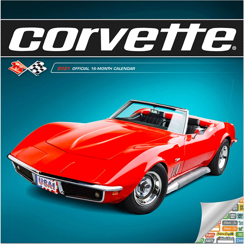 Corvette Calendar 2021 Bundle - Deluxe 2021 Corvette Mini Calendar with Over 100 Calendar Stickers (American Sports Cars Gifts, Office Supplies)