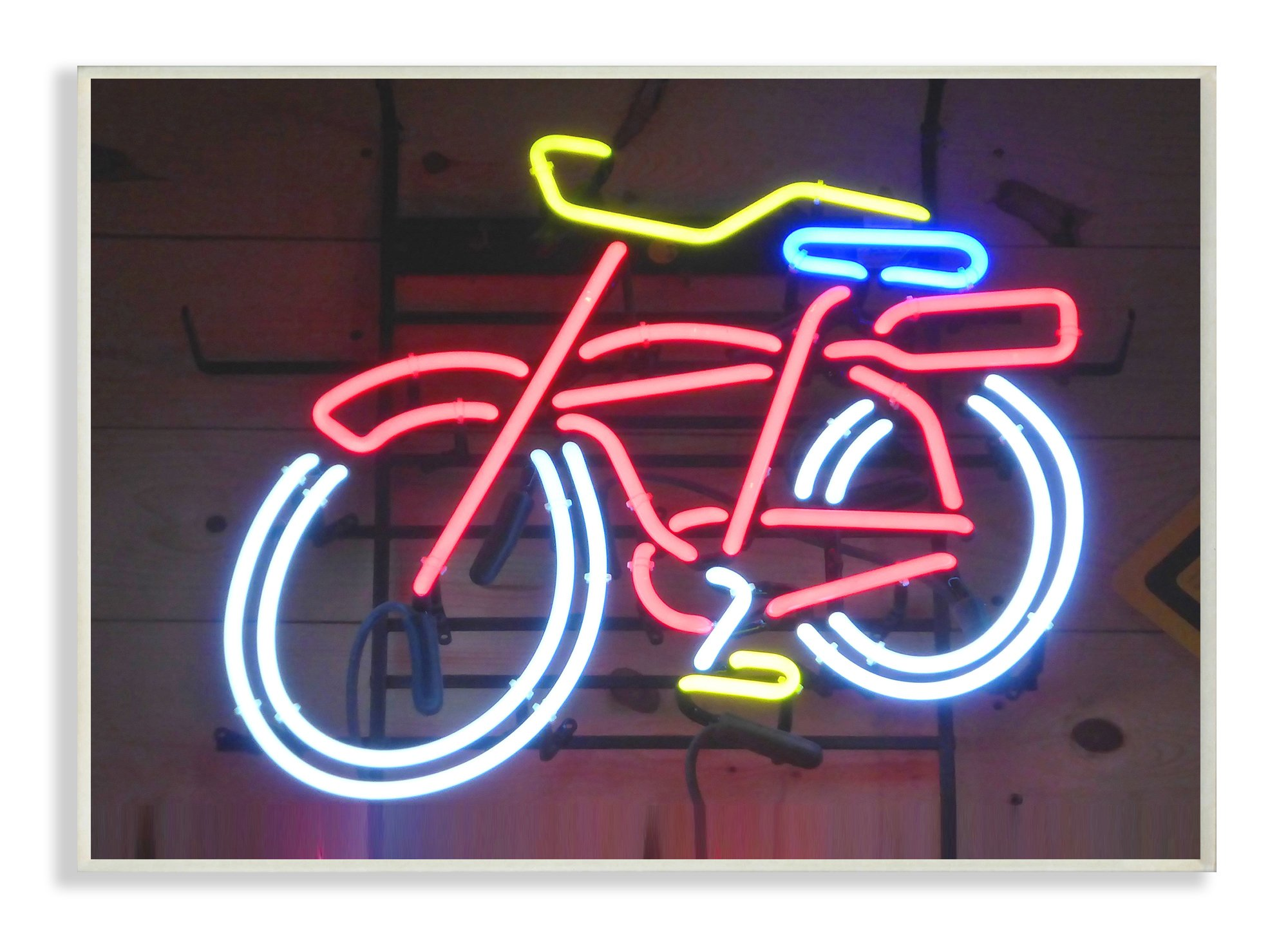 The Kids Room by Stupell Stupell Home Décor Bicycle Neon Lights Photography Wall Plaque Art, 10 x 0.5 x 15, Proudly Made in USA