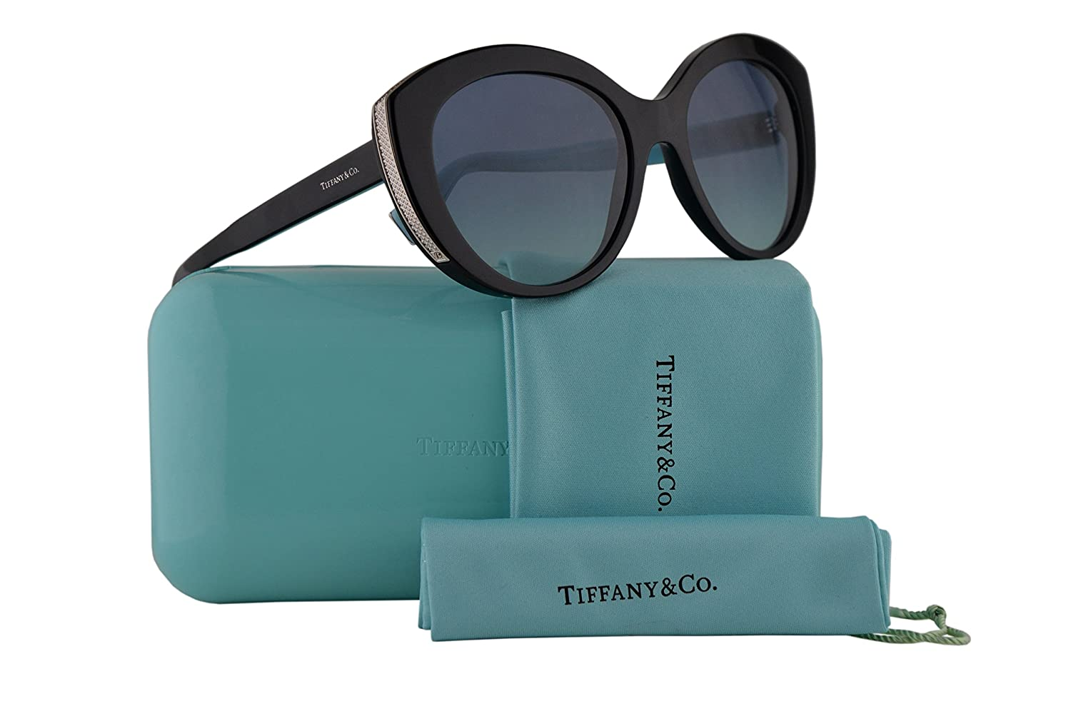 1457538a73c Amazon.com  Tiffany   Co. TF4151 Sunglasses Black w Blue Gradient Lens 54mm  80019S Tiffany Co. TF 4151  Clothing