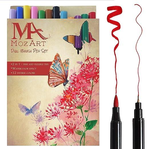 70 opinioni per Set penna a pennello con doppia punta– 12 colori – alta qualità, crea l'effetto