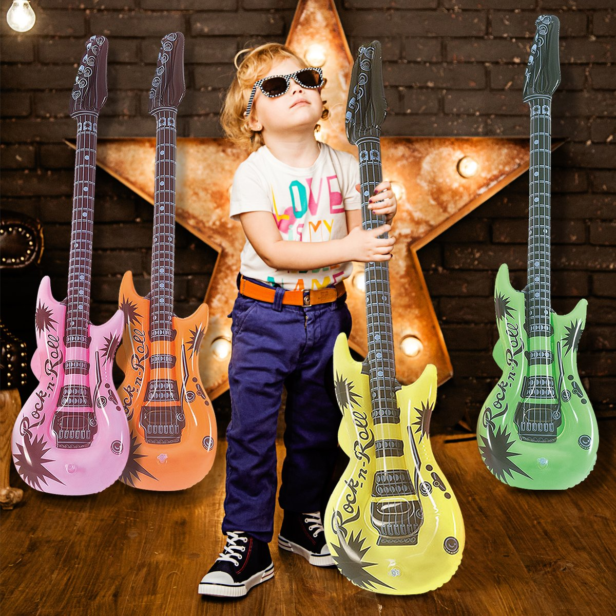 Novelty Place Inflatable Guitar Set for Kids & Adults, 35 Inches (Pack of 12) by Novelty Place (Image #7)