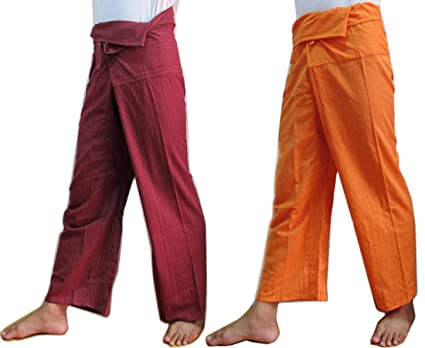 38aaa82a634 Image Unavailable. Image not available for. Color  (2 PACK) UNISEX 1Tone Thai  Fisherman Pants Yoga Trousers ...