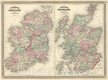 Map Of Ireland To New York.Amazon Com Historic Map Johnson S Ireland Published By A J