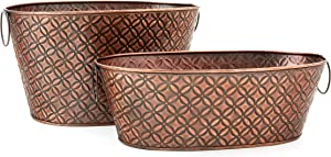 Old Dutch International Antique Copper Set of 2 Floral Galvanized Party Tubs, 6.5 & 3.5 Gallons, Large