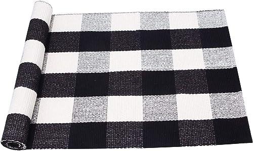 PRAGOO Cotton Rug Hand-Woven Checkered Carpet Braided Kitchen Mat Living Room Area Rug Black White Floor Rug 60x130cm