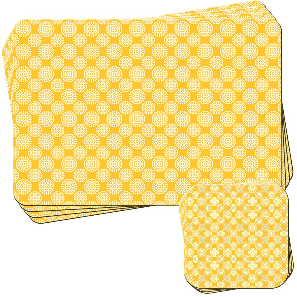 Dotty Circles Pattern on Mustard Yellow Set of 4 Placemats and Coasters Fancy A Snuggle