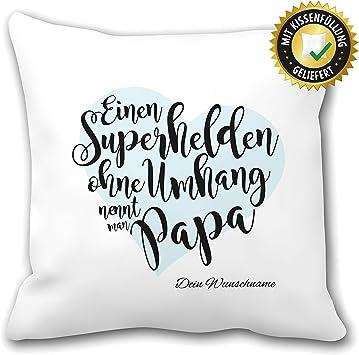 OWLBOOK Superheld Papa Kissen mit Spruch Personalisiert mit Namen Geschenke Geschenkidee f/ür Papa Vater zum Geburtstag Ostern Zierkissen mit F/üllung