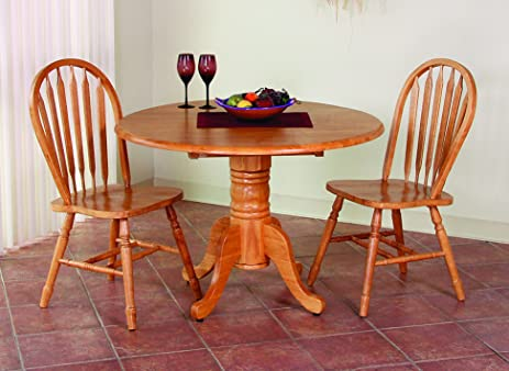 Sunset Trading 3 Piece Round Drop Leaf Dining Set With Arrowback Chairs