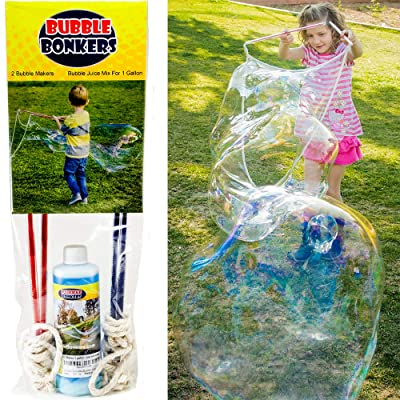 2 Bubble Wands & Bubble Mix for 1 Gallon. Kids Love Big Bubbles. Fun for Everyone. Just add Water to The Giant Bubble Solution.: Toys & Games