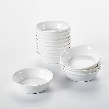 MALACASA, Serie Ramekins, Cuencos de Salsas/Aperitivo/Postre, Tazon de Porcelana 12 piezas 10,2 cm Molde para Tartas: Amazon.es: Hogar