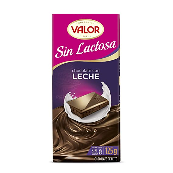 VALOR chocolate con leche sin lactosa tableta 125 gr