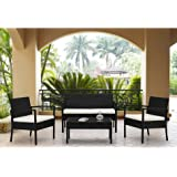 Rattan Wicker Patio Sofa Dining Table Set 4 Piece Balcony Outdoor Garden Pool Furniture Set White Cushioned Seat Black