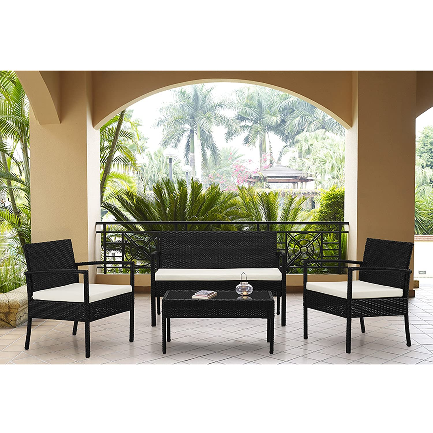 Amazon.com : Rattan Wicker Patio Sofa Dining Table Set 4 Piece Balcony  Outdoor Garden Pool Furniture Set White Cushioned Seat Black : Patio, Lawn  U0026 Garden