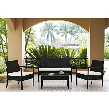 Rattan Wicker Patio Sofa Dining Table Set 4 Piece Balcony Outdoor Garden  Pool Furniture Set White