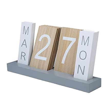 Wood block perpetual month date day tile calendar desktop accessories