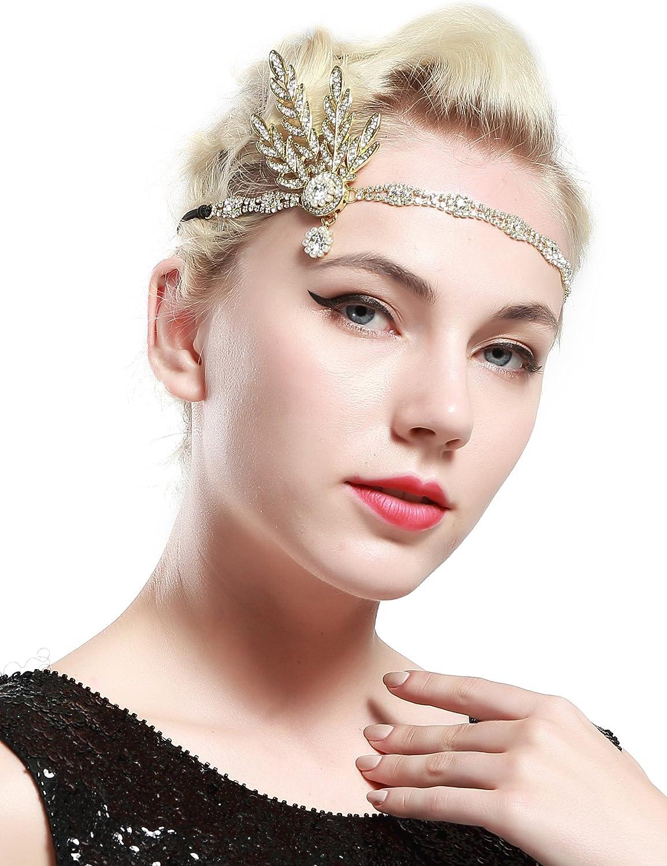 Babeyond® 1920s Stil Blatt-Medaillon Rundes Goldenes Stirnband mit ...
