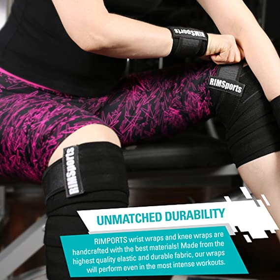 1a0818000d Amazon.com : RIMSports Wrist Wraps - Knee Wraps Combo Best Knee Support for  Squats - Ideal Wrist Straps for Weightlifting - Preferred Weightlifting Knee  ...