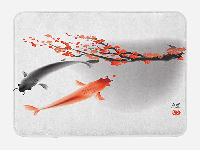 Ambesonne Japanese Bath Mat, Koi Carp Fish Couple Swimming Cherry Blossom Sakura Branch Culture Design, Plush Bathroom Decor Mat with Non Slip Backing, 29.5