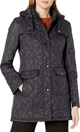 Larry Levine Women's Swirl Quilt with Detachable Hood and Pockets