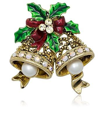 Christmas Bell.Akianna Antique Gold Tone Swarovski Element Crystals Christmas Bells Pin Brooch