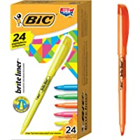 24-Pack BIC Brite Liner Highlighter, Chisel Tip, Assorted Colors