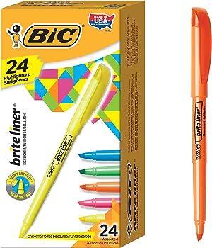 24-Pack BIC Brite Liner Highlighter, Chisel Tip (Assorted Colors)