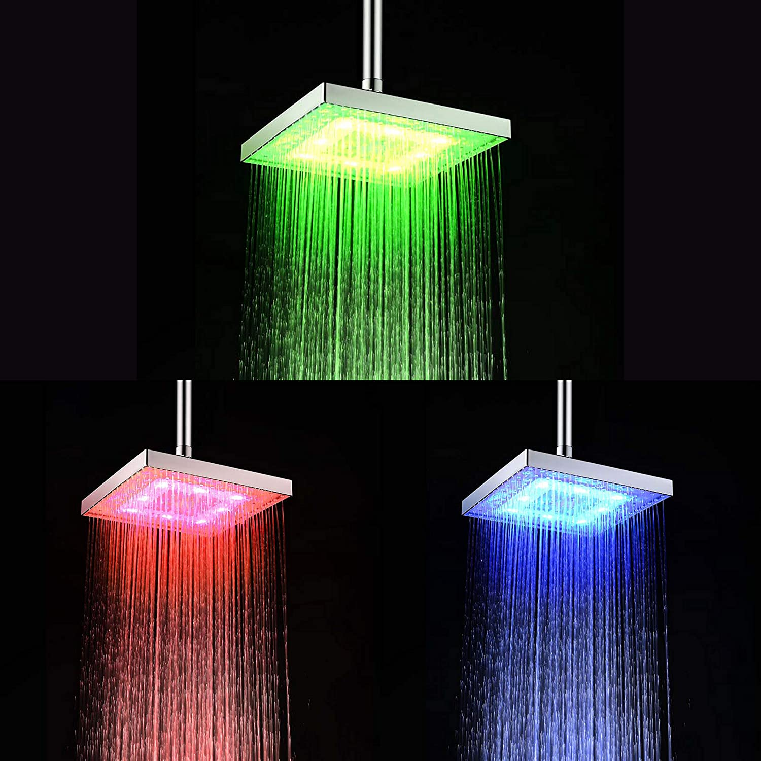 DELIPOP HN-11 8inch Square LED ShowerHeads Temperature Sensor 3 Color-Changing LED Overhead ABS Chrome Finished For Bathroom