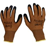 TheCoolio Midas Safety Brown Shell with Black Crinkle Finish Latex Coating Gloves (Medium Size)